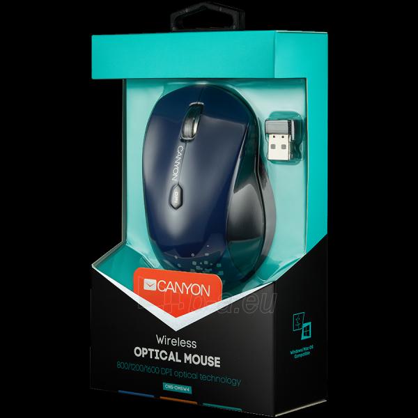 CANYON CNS-CMSW4 Mouse (Wireless, Optical 800/1280 dpi, 6 btn, USB, power saving technology), Blue Paveikslėlis 2 iš 2 250255030849