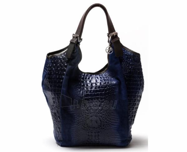 Carla Ferreri Elegantní kožená kabelka 838 Blu Scuro Paveikslėlis 1 iš 1 310820003746