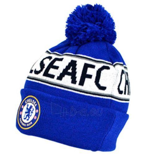 Chelsea F.C. žieminė kepurė su bumbulu ir tekstu (Mėlyna) Paveikslėlis 1 iš 2 251009001245
