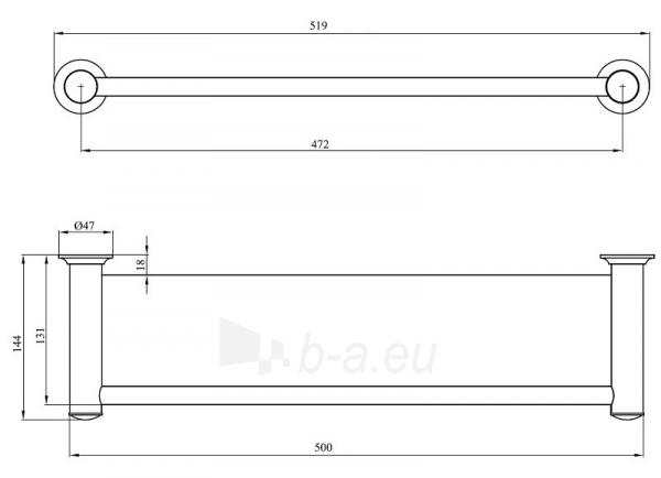 CLASSIC 001/50CC, įrėminta stiklinė lentynėlė, 50 cm Paveikslėlis 2 iš 2 270717001228
