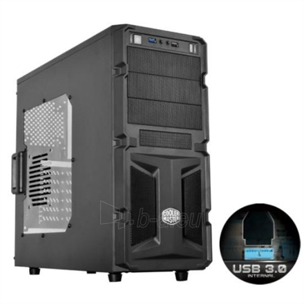 Cooler Master Elite K(night) 350, Midl tower, black, with window, with USB 3.0 , black inside, w/o PSU, mATX / ATX Paveikslėlis 1 iš 4 250255900377