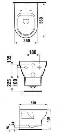 CUBITO Hanging toilet with right runoff Paveikslėlis 3 iš 3 270713000291