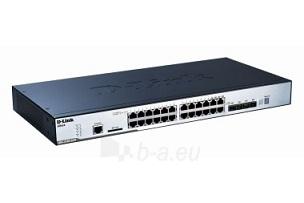 D-Link 24-port 10/100/1000 Layer2 Stackable PoE Gigabit Switch Combo 1000T/SFP Paveikslėlis 1 iš 1 250257501345