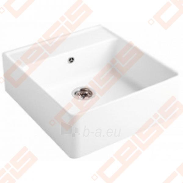 Dalinai įleidžiama plautuvė VILLEROY&BOCCH Single-bowl 630x595, dviejų skylių, baltos spavos Paveikslėlis 1 iš 5 271523000008