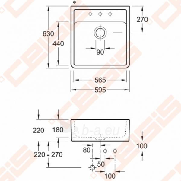Dalinai įleidžiama plautuvė VILLEROY&BOCCH Single-bowl 630x595, dviejų skylių, baltos spavos Paveikslėlis 2 iš 5 271523000008