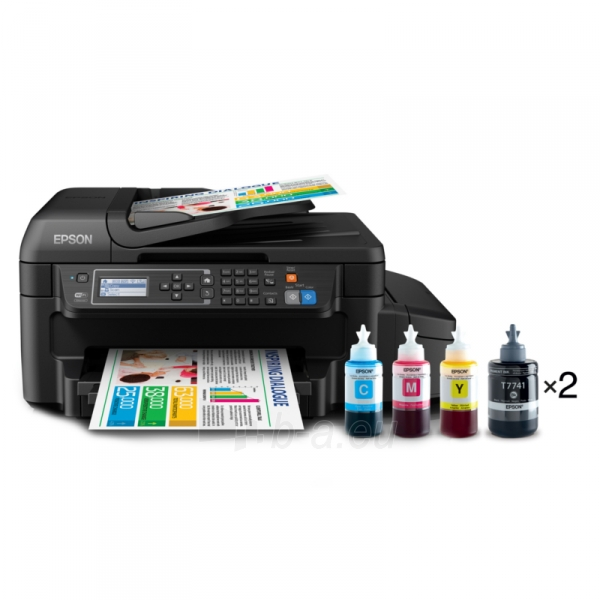 Daugiafunkcinis spausdintuvas Epson L655 Inkjet Multifunction Printer / Print, Scan, Copy, Fax / 4 Ink Cartridges BCYM/ 33ppm mono/ 20ppm color / 1200dpi x 2400dpi / USB / WiFi / Ethernet / Wi-Fi Direct Paveikslėlis 1 iš 6 310820003693