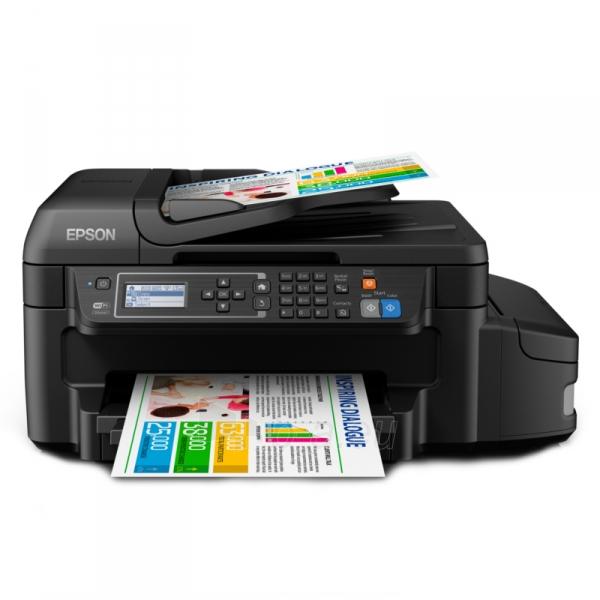 Daugiafunkcinis spausdintuvas Epson L655 Inkjet Multifunction Printer / Print, Scan, Copy, Fax / 4 Ink Cartridges BCYM/ 33ppm mono/ 20ppm color / 1200dpi x 2400dpi / USB / WiFi / Ethernet / Wi-Fi Direct Paveikslėlis 2 iš 6 310820003693