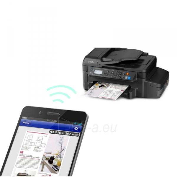 Daugiafunkcinis spausdintuvas Epson L655 Inkjet Multifunction Printer / Print, Scan, Copy, Fax / 4 Ink Cartridges BCYM/ 33ppm mono/ 20ppm color / 1200dpi x 2400dpi / USB / WiFi / Ethernet / Wi-Fi Direct Paveikslėlis 3 iš 6 310820003693