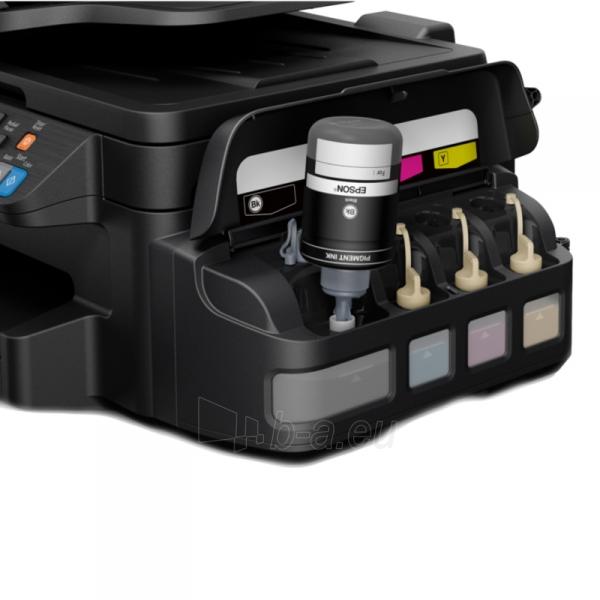Daugiafunkcinis spausdintuvas Epson L655 Inkjet Multifunction Printer / Print, Scan, Copy, Fax / 4 Ink Cartridges BCYM/ 33ppm mono/ 20ppm color / 1200dpi x 2400dpi / USB / WiFi / Ethernet / Wi-Fi Direct Paveikslėlis 5 iš 6 310820003693