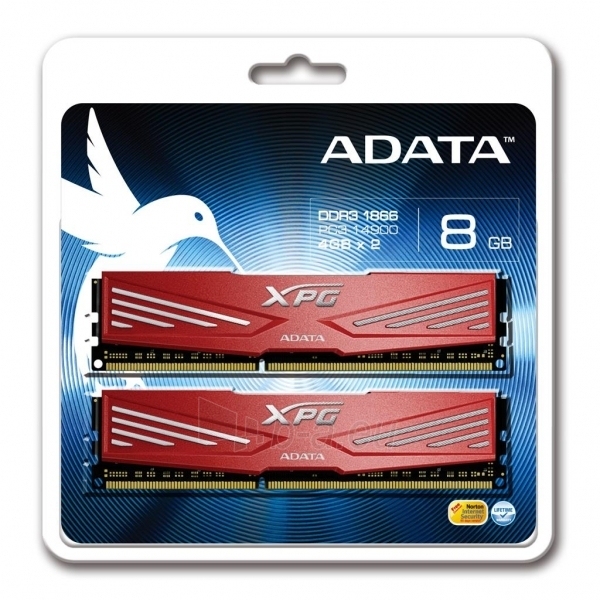 DDR3 Adata XPG V1 Red 8GB (2x4GB) 1866MHz CL10 1.5V Paveikslėlis 1 iš 1 250255112061