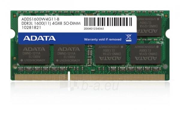 DDR3L SODIMM Adata 4GB 1600MHz CL11 1.35V Retail Paveikslėlis 1 iš 1 310820011672