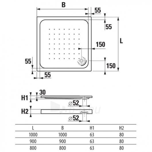 Deep by Jika akrilinis dušo padėklas, kvadratinis Paveikslėlis 1 iš 2 310820079069