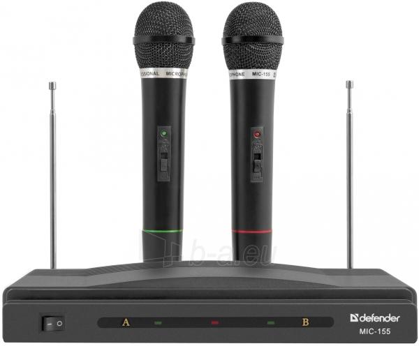 Mikrofonų rinkinys DEFENDER Wireless MIC-155 black Paveikslėlis 1 iš 1 310820002154