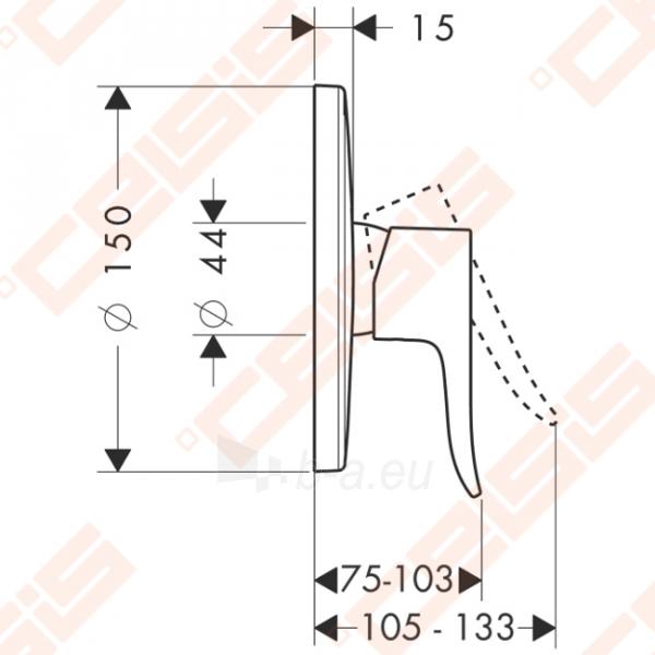 Dekoratyvinė dalis dušo maišytuvo HANSGROHE Metris (apvali) Paveikslėlis 2 iš 3 270721000557