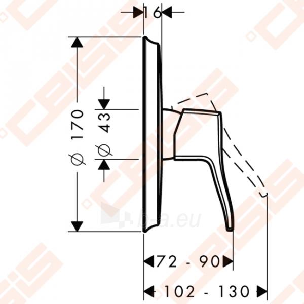 Dekoratyvinė dalis dušo maišytuvo HANSGROHE Metris Classic Paveikslėlis 2 iš 3 270721000558