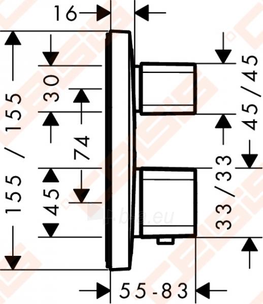 Dekoratyvinė dalis potinkiniam termostatiniam dušo maišytuvui HANSGROHE metris Ecostat E 2 taškų Paveikslėlis 2 iš 4 270721000564