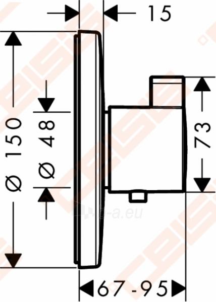 Dekoratyvinė dalis termostatiniam dušo maišytuvui HANSGROHE Ecostat S highflow 59l/min Paveikslėlis 2 iš 3 270721000579
