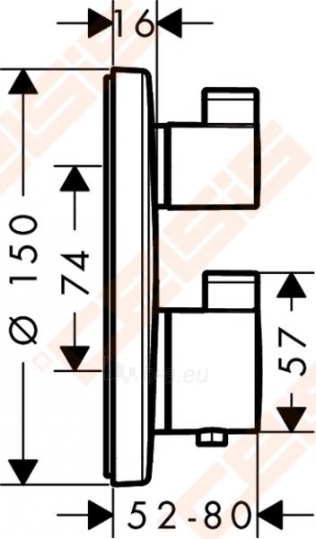 Dekoratyvinė dalis termostatiniam dušo maišytuvui HANSGROHE Ecostat S su dviem funkcijomis Paveikslėlis 2 iš 2 270721000580