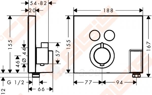 Dekoratyvinė dalis termostatiniam dušo maišytuvui HANSGROHE Select dviems taškams su laikikliu Paveikslėlis 2 iš 4 270721000585