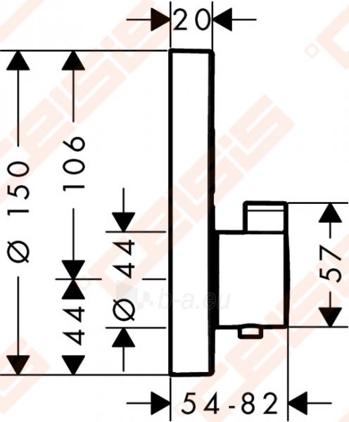 Dekoratyvinė dalis termostatiniam dušo maišytuvui HANSGROHE Select S dviems taškams Paveikslėlis 2 iš 4 270721000589