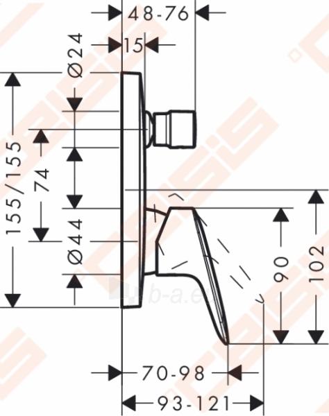 Dekoratyvinė dalis vonios/dušo maišytuvo HANSGROHE Logis Paveikslėlis 2 iš 3 270721000601
