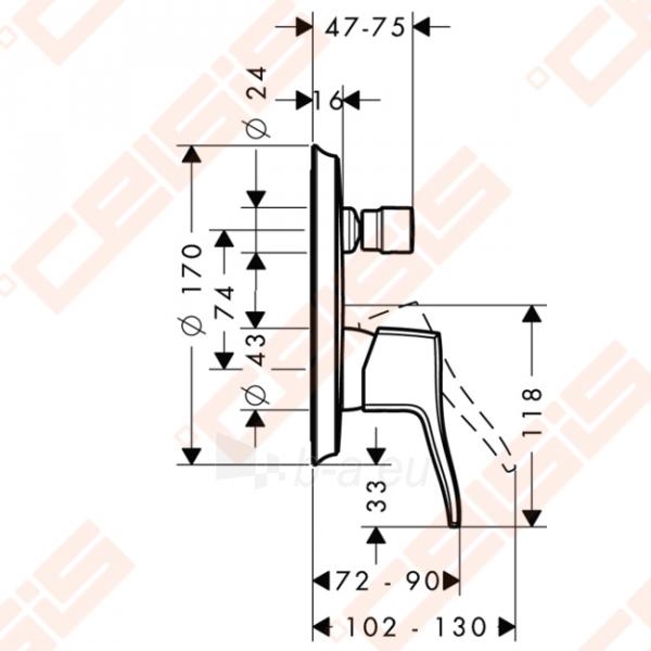 Dekoratyvinė dalis vonios/dušo maišytuvo HANSGROHE Metris Classic Paveikslėlis 2 iš 3 270721000605
