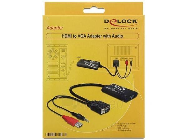 Delock adapter HDMI(F)->VGA(M)  Audio Jack 3,5mm  Power USB Paveikslėlis 2 iš 2 250255081347