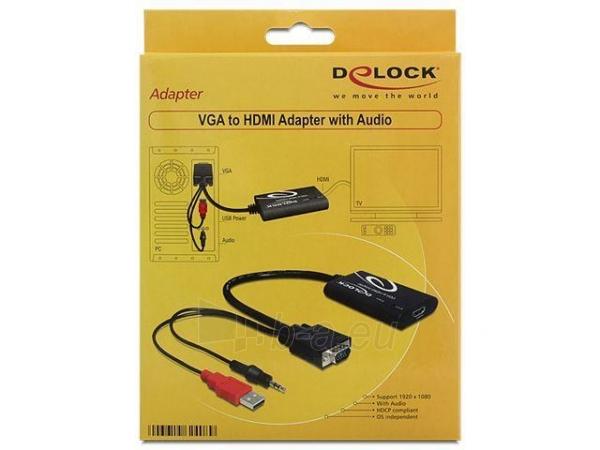 Delock adapter VGA(M)  Audio Jack 3,5mm  Power USB -> HDMI(F) Paveikslėlis 2 iš 2 250255081350
