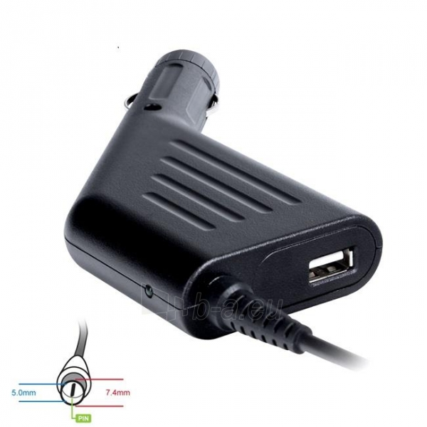 Digitalbox automob. mait. šaltinis 18.5V/3.5A 65W kišt 4.8x1.7mm HP | USB Paveikslėlis 1 iš 3 250256400828