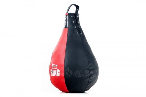 Dirbtinės odos bokso kriaušė Ring Sport juoda/raudona 5kg Large Paveikslėlis 2 iš 7 310820250553