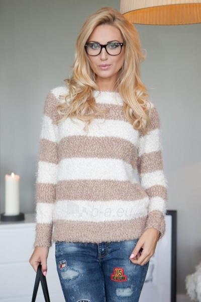 Dryžuotas megztinis Perla (kreminės/ kapučino spalvos) Paveikslėlis 1 iš 5 310820032740