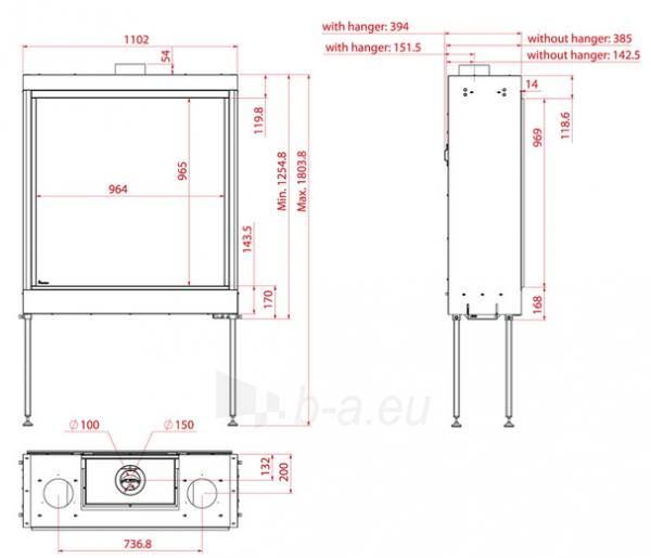 Dujinis židinys SQ 100, kvadratiniu tiesiu stiklu, 964x965cm, nesatsispindintis stiklas Paveikslėlis 2 iš 3 310820254329