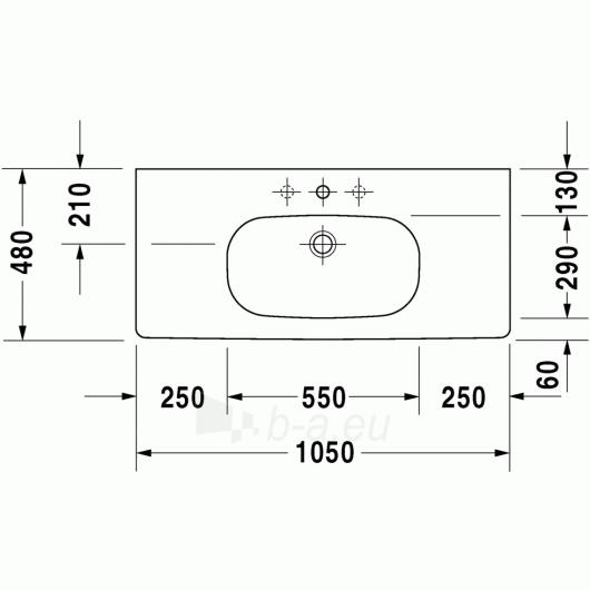 Duravit D-Code baldinis praustuvas 105x48 Paveikslėlis 2 iš 3 270711000646