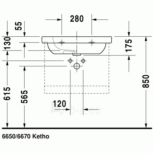Duravit D-Code baldinis praustuvas 65x48 Paveikslėlis 2 iš 3 270711000648