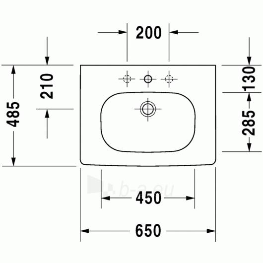 Duravit D-Code baldinis praustuvas 65x48 Paveikslėlis 3 iš 3 270711000648