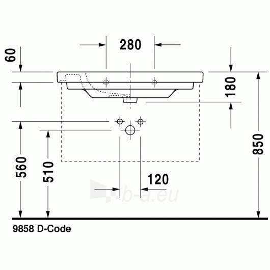Duravit D-Code baldinis praustuvas 85x48 Paveikslėlis 2 iš 4 270711000649