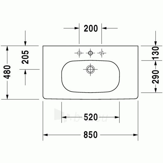 Duravit D-Code baldinis praustuvas 85x48 Paveikslėlis 3 iš 4 270711000649