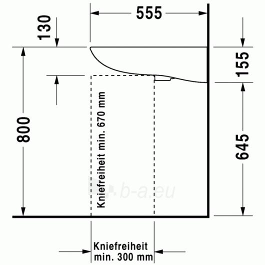Duravit D-Code praustuvas 60x55 Paveikslėlis 3 iš 4 270711000660