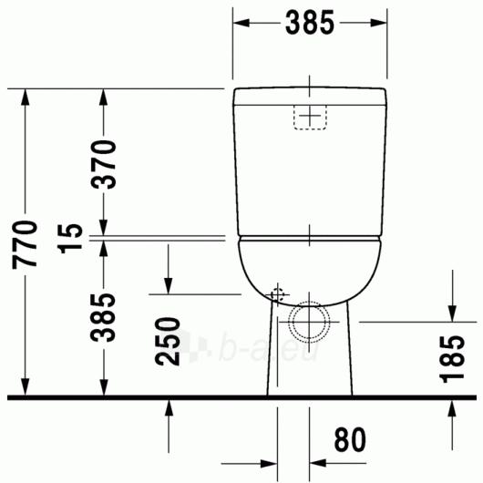 Duravit D-Code unitazas, horizontal, pajungimas šone Paveikslėlis 5 iš 5 270713000458
