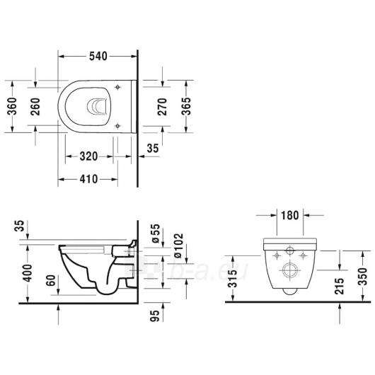 Duravit pakabinamas unitazo puodas 54cm, Starck 3 rimless Paveikslėlis 2 iš 2 270713000751