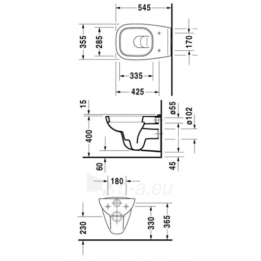 Duravit withspended unitazo pot D-code 54cm Paveikslėlis 2 iš 2 270713000752