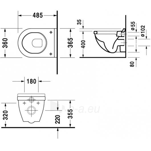 Duravit withspended WC pot Compact Starck3 Paveikslėlis 1 iš 2 270713000753