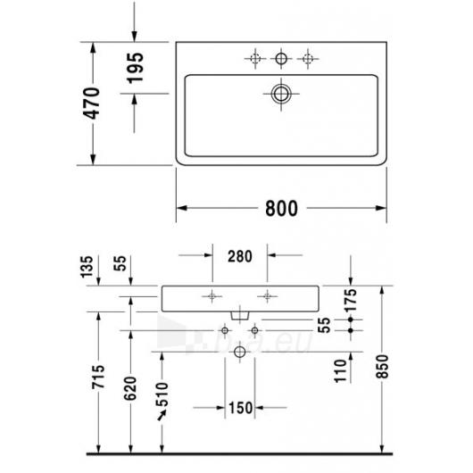 Duravit Vero praustuvas 80X47cm Paveikslėlis 1 iš 2 270711001136