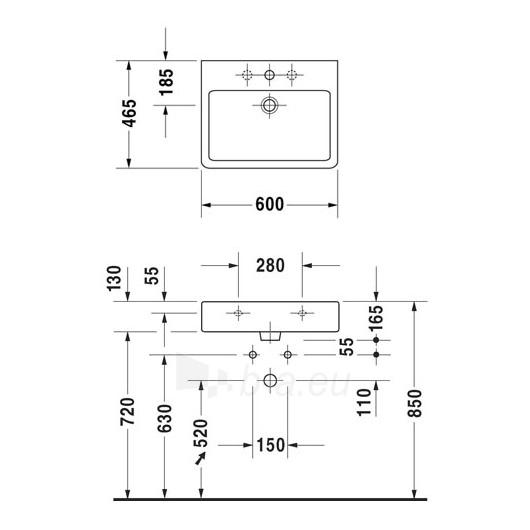 Duravit Vero praustuvas su šlifuota apačia 60X46,5cm Paveikslėlis 1 iš 2 270711001137