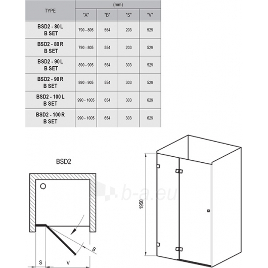 Dušo durys Brilliant BSD2 80,90,100x195CM Paveikslėlis 7 iš 7 270730001071