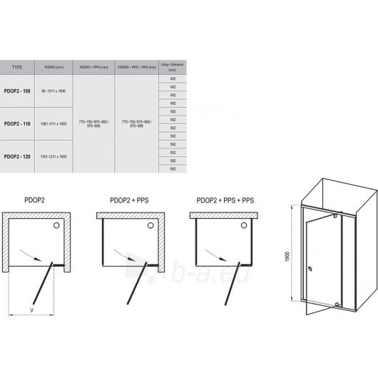 Dušo durys Pivot PDOP2 1000x1900 Paveikslėlis 4 iš 4 270730001076