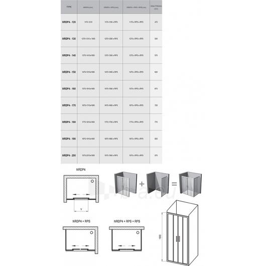 Dušo durys Rapier NRDP4 1600x1900 Paveikslėlis 6 iš 6 270730001083