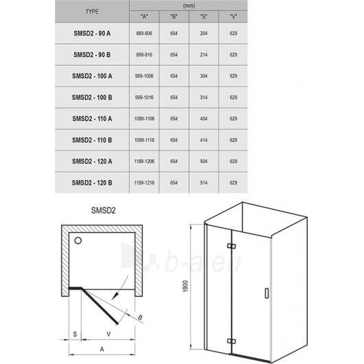 Dušo durys SmartLine SMSD2 90,100,110,120x190CM Paveikslėlis 5 iš 5 270730001088