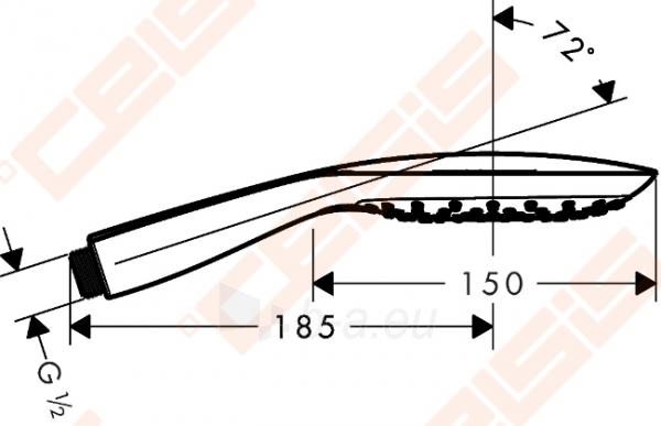 Dušo galva HANSGROHE Raindance Select E150 3jet EcoSmart Paveikslėlis 2 iš 3 270721000661