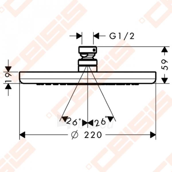 Dušo galva iš lubų HANSGROHE Croma 220 Air 1 jet EcoSmart 9 l/min Paveikslėlis 2 iš 2 270721000668